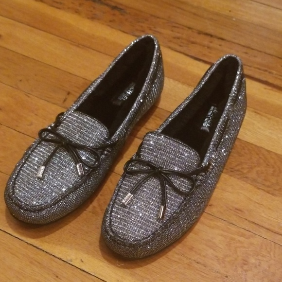 MICHAEL Michael Kors Shoes - Michael Kors Silver Fur Lined Loafers New 7.5